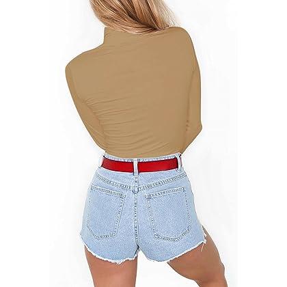978c0afa30 ... Sunfury Womens Turtleneck Long Sleeve Plain Snap Crotch Bodysuit  Stretchy Rompers