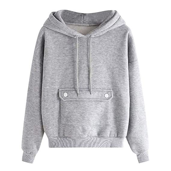 URIBAKE ❤ Womens Hooded Sweatshirt Autumn Loose Long Sleeve Bockets Grey Pullover Tops Blouse at Amazon Womens Clothing store: