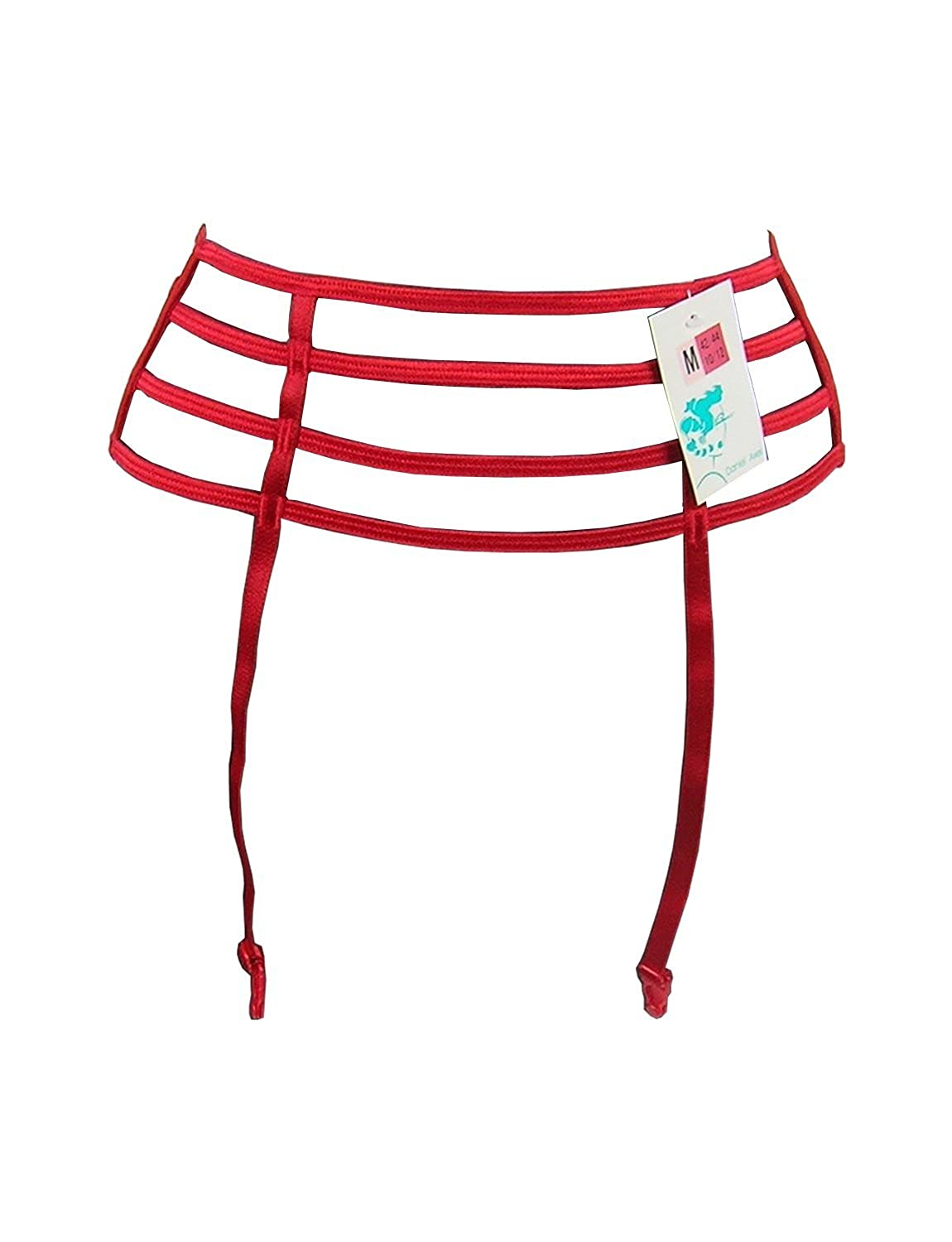 4-Bar Designer Suspender Belts - Red