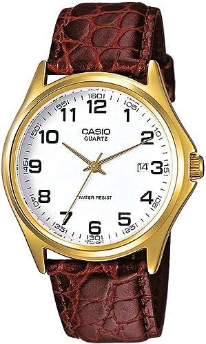 Casio Reloj Analógico para Hombre de Cuarzo con Correa en Cuero MTP-1188PQ-7BEF: Amazon.es: Relojes