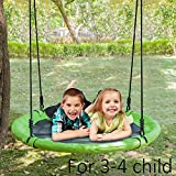 JOYMOR 40 Inch Diameter Round Oxford Detachable Swing with Adjustable Tree Rope,Great for Tree, Swing Set, Backyard, Playground, Playroom(Green)