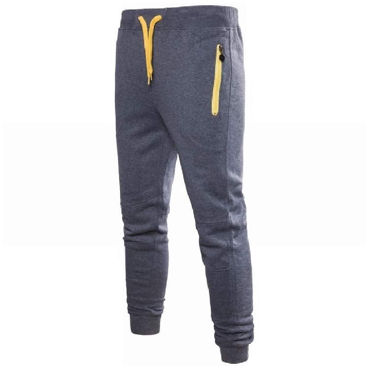 Zimase Mens Drawstring Leisure Elastic Waist Plus-Size Pocket Zip Sweat Pants
