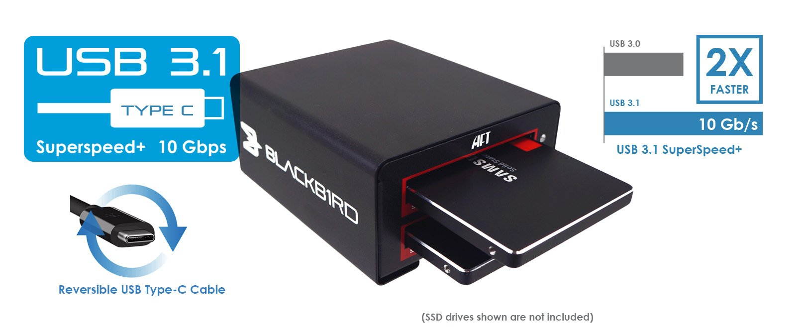 Blackbird VX-2SSD USB3.1 (10Gbps) Type-C dual SSD docking for SSD.
