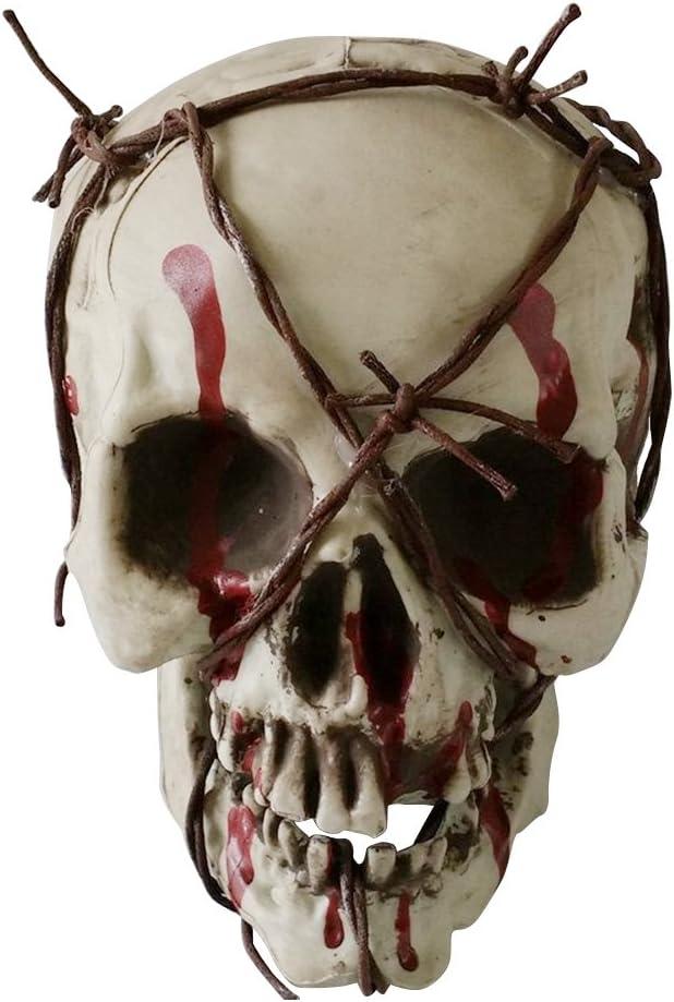 LUOEM Decoración de la Cabeza del Cráneo de plástico Alambre de Hierro Twining Cabeza de Esqueleto de Halloween Escultura Accesorios de la casa encantada Amigos