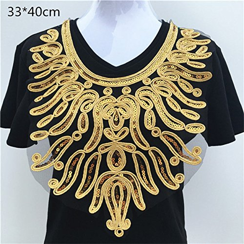 1pcs Craft White/Gold Collar Venise Sequin Floral Embroidered Applique Trim Decorated Lace Neckline Collar Sewing Accessories (Gold 001)