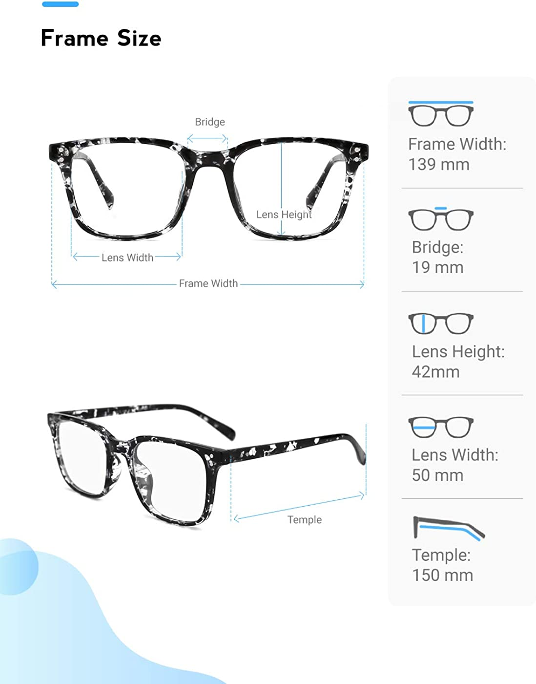 Mimoeye Classic Oversized Design Full Rimmed Blue Light Blocking Eyeglasses Anti Blue Ray Square Glasses for Women Men Teens