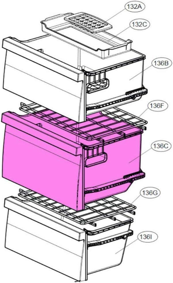 Cassetto centrale congelatore LG GBB60PZEFS2 GBB60PZJZS GBB60PZKVS GBB60PZMFS GBB60PZPFS GBB60PZSFB GBB60SAPXS GBB60SEPFS GBB60SWFFB