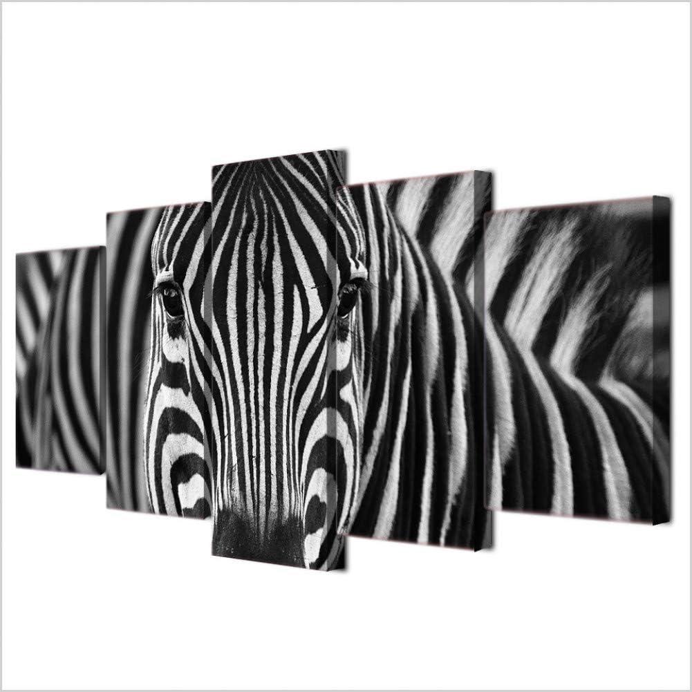 TBDZPS 5 Paneles HD Imprime Lienzo Hogar Pared Arte Decoraci/ón Cuadros Cebra Blanco Y Negro Pinturas para Sala De Estar Animal Carteles