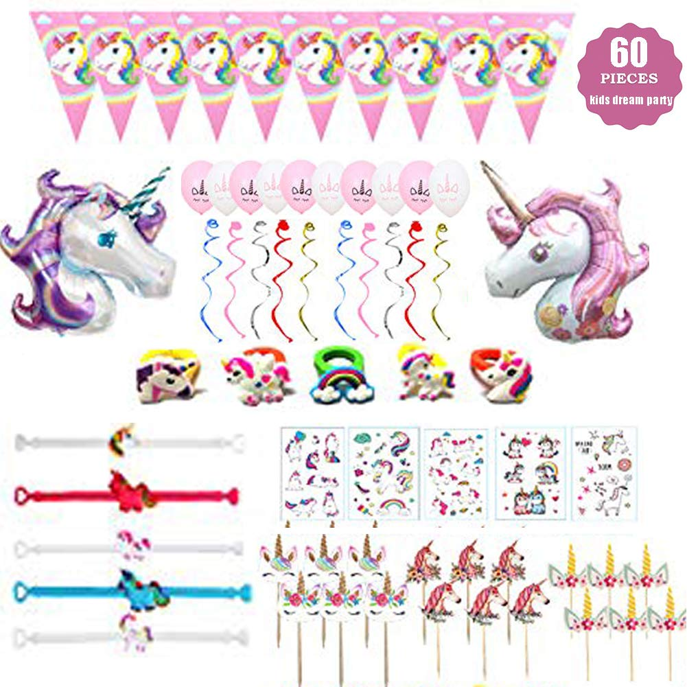 Unicorn Party Favors Decorations Unicorn Graffiti Stickers Cupcake Toppers Unicorn Bracelets Rings Balloons Hanging Swirl-Temporary Tattoos for Birthday Unicorn Party Supplies