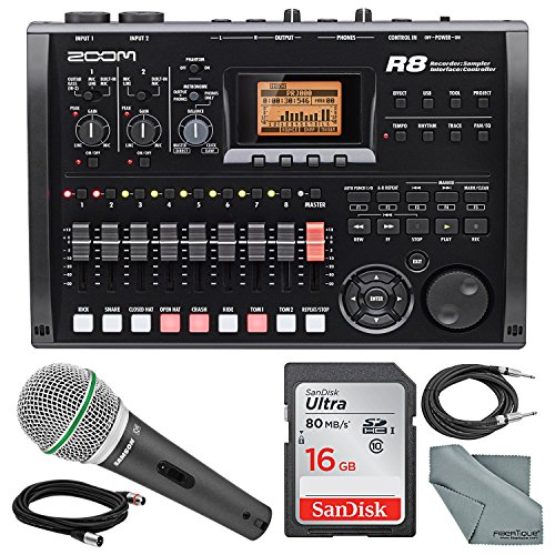 Photo Savings Zoom R8 8-Track Digital Recorder/Interface/Controller/Sampler with Samson Supercardioid Neodymium Dynamic Handheld Microphone and Accessory Bundle
