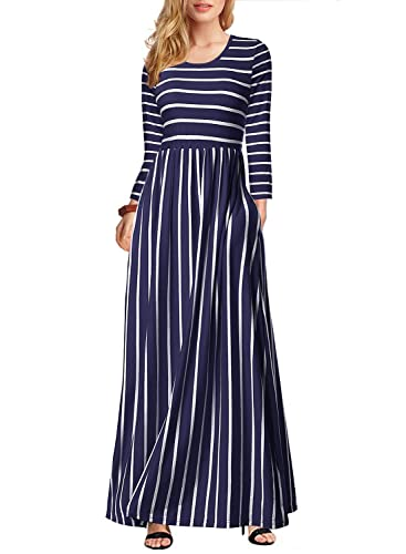 Seanrui Women's 3/4 Sleeve Striped Dress Elastic Waist Tunic T-Shirt Dress Pocket Dark Blue XL