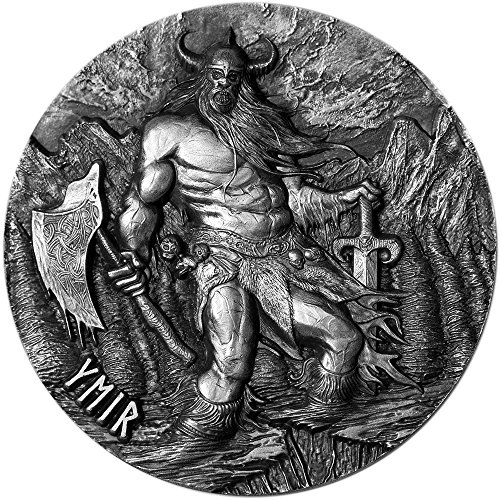 2017 TK Legends Of Asgard YMIR Max Relief 3 Oz Silver Coin 10$ Tokelau 2017 3 Oz Antique Finish