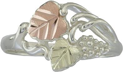 Size 7.75 Vintage Black Hills Gold and Sterling Silver Rose Motif Ring by Dakota Designs
