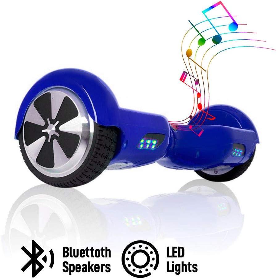 Autonom/ía 10-20 km ACBK Velocidad m/áxima: 10-12 km//h Patinete El/éctrico Hover Autoequilibrio con Ruedas de 6.5 Altavoces Bluetooth + Luces Led integradas Azul