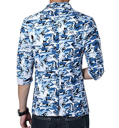 Ouye Blau Camouflage Blazer Freitzeit Sakko