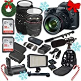 Canon EOS 5D Mark III 22.3 MP Full Frame CMOS Sensor Digital SLR Camera w/ EF 24-105mm f/4 L IS USM Lens + Sigma 70-300mm f/4-5.6 DG Macro + 2 SanDisk 32GB Memory Cards + Holiday Accessory Bundle