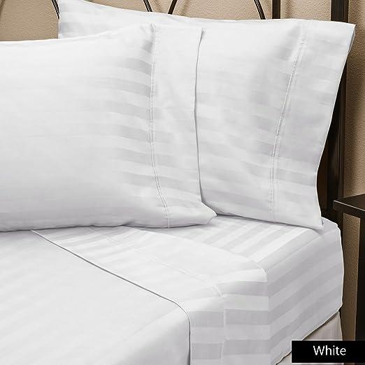 4 PCs Sheet Set Taupe Stripe 1000 Thread Count 100/% Egyptian Cotton USA Size