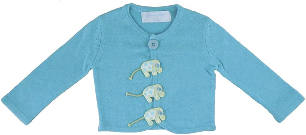 Mud Pie Baby Lil' Buddy Blue Woven Cotton Sweater, Elephant, 0-6 Months