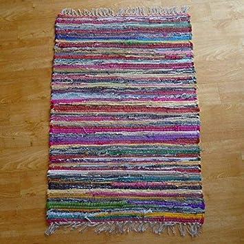 def8d7fe6498 The Indian Arts Tapis tissé Main Issu du Commerce équitable Loom Indien  Multicolore 100% Coton