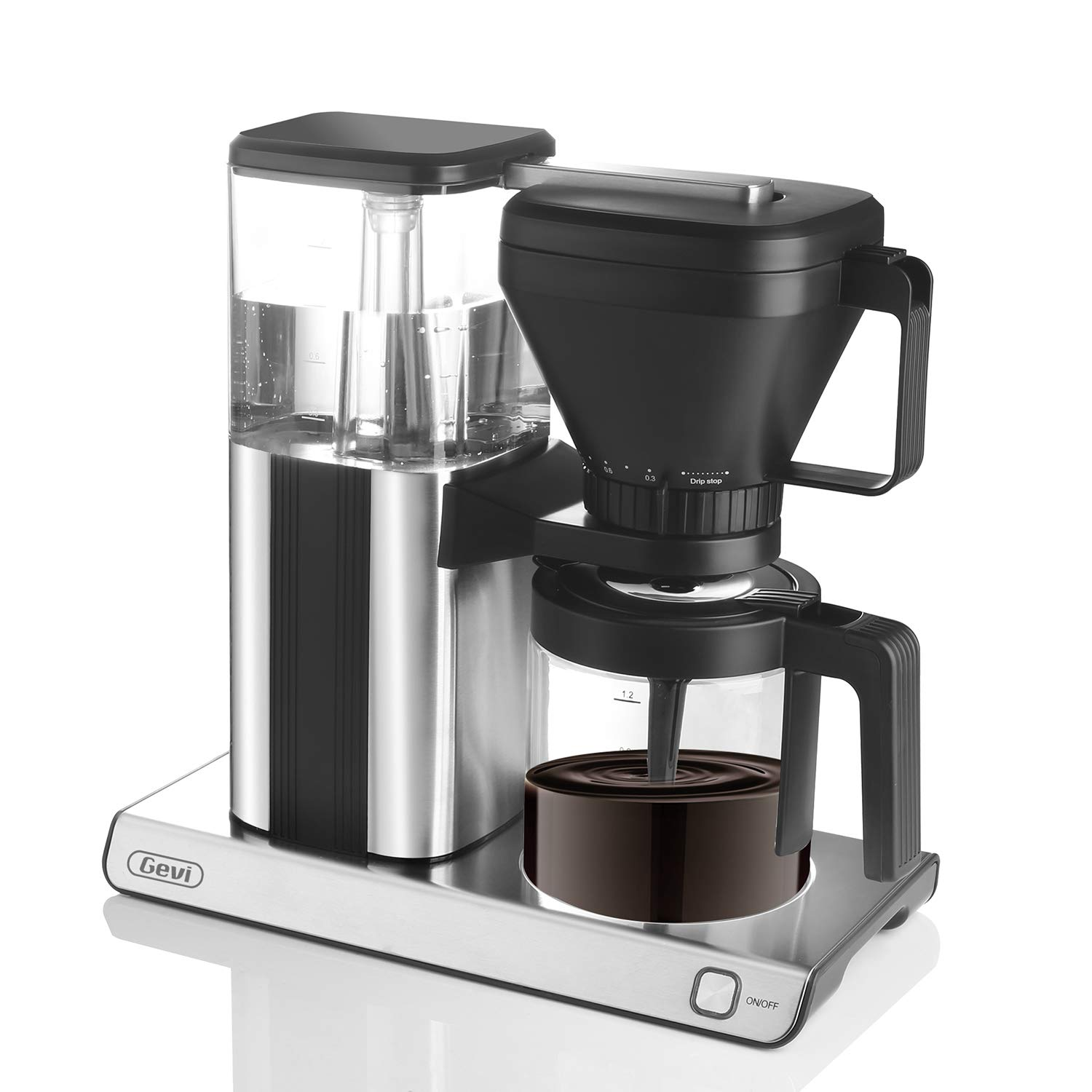 Gevi 10 Cup Coffee Maker Adjustable Brew Weak or Strong Coffee Come with Glass Carafe