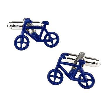 Doitsa 1 par Gemelos hombre Mancuernas de camisa Moda Simple Gemelos de bicicleta Oficina Boda Regalo Azul: Amazon.es: Hogar