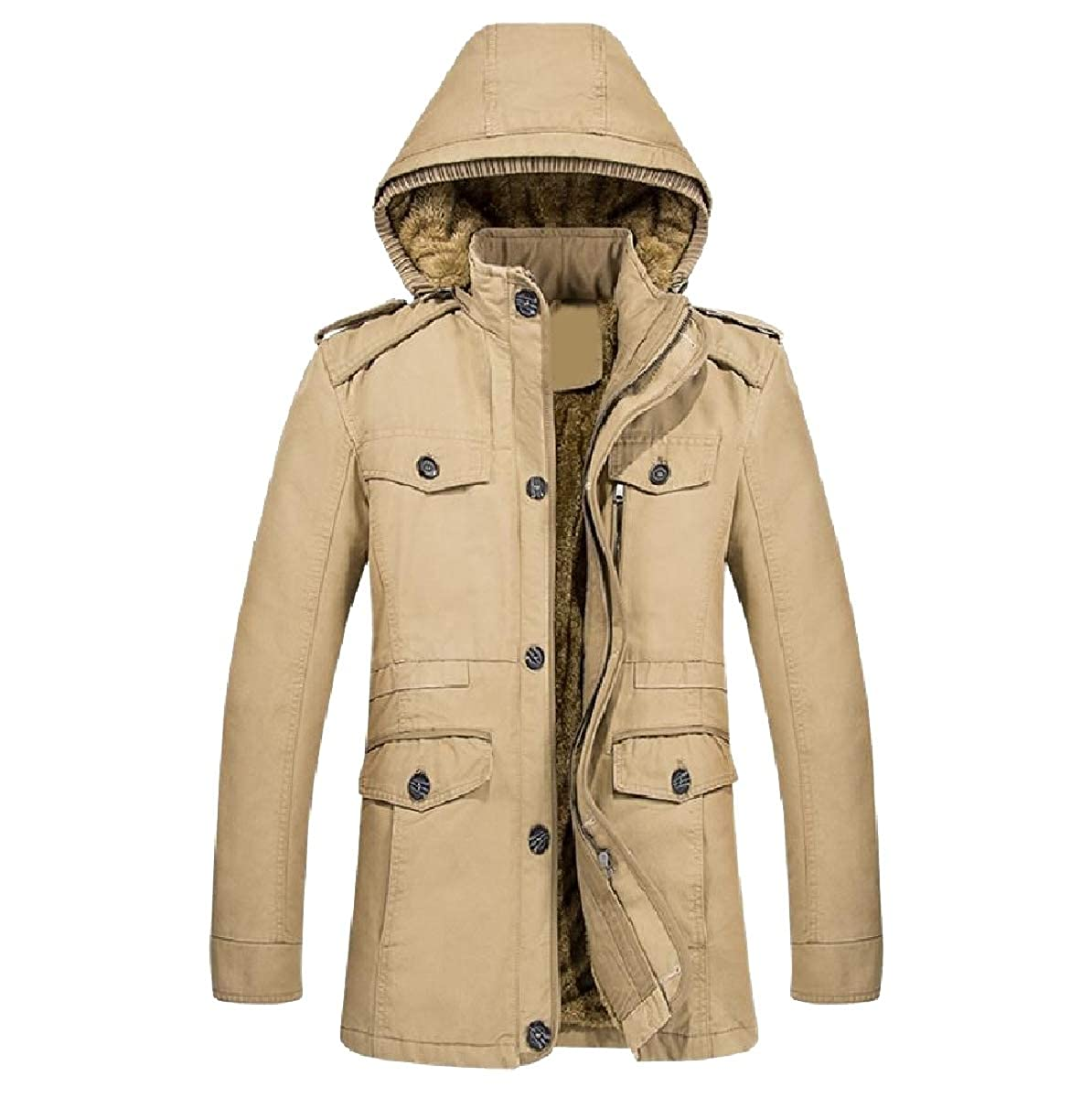 YUNY Mens Warm Cotton Winter Hooded Oversized Parka Coats Jackets Khaki S