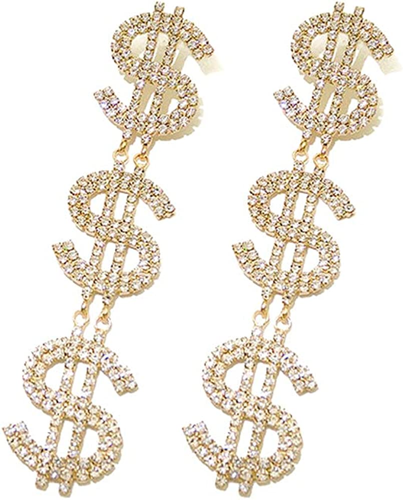 Dollar Sign Money Symbol Crystal Drop Dangle Statement Earrings Bold Fashion Jewelry KELMALL COLLECTION