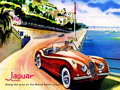 VINTAGE TRANSPORT JAGUAR MONTE CARLO CIRCUIT CAR AUTOMOBILE NEW FINE ART PRINT POSTER PICTURE 30x40 CMS CC5509