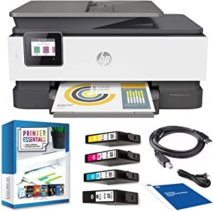 HP OfficeJet Pro 8025 All-in-One Wireless Smart Printer for Home & Office with Alexa 1KR57A Print, Scan, Copy, Fax, Mobile Functions Bundle with DGE USB Cable + Small Business Productivity Software