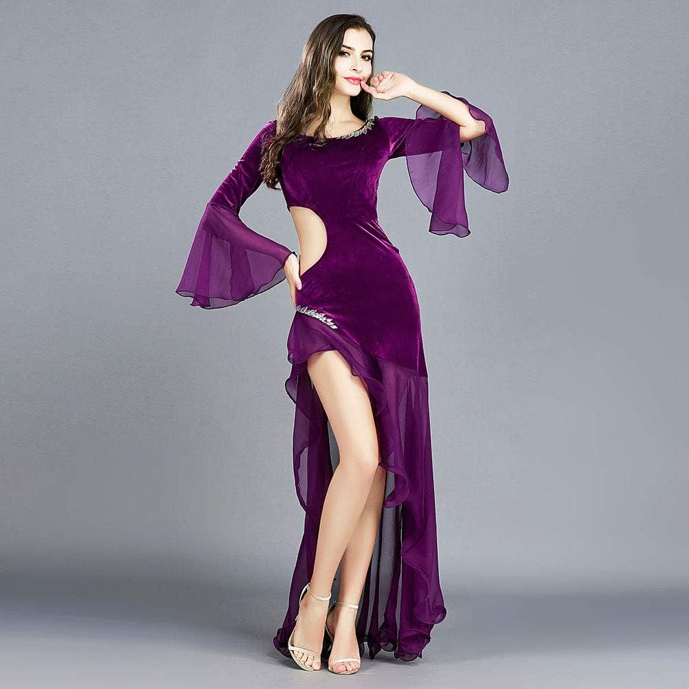 ROYAL SMEELA Vestito da Donna Costume da Ballo Abiti Velluto Chiffon Manica Lunga Vestito Latino Tango Danza Maxi Gonne Vestito Elegante Le Signore Abiti da Sera