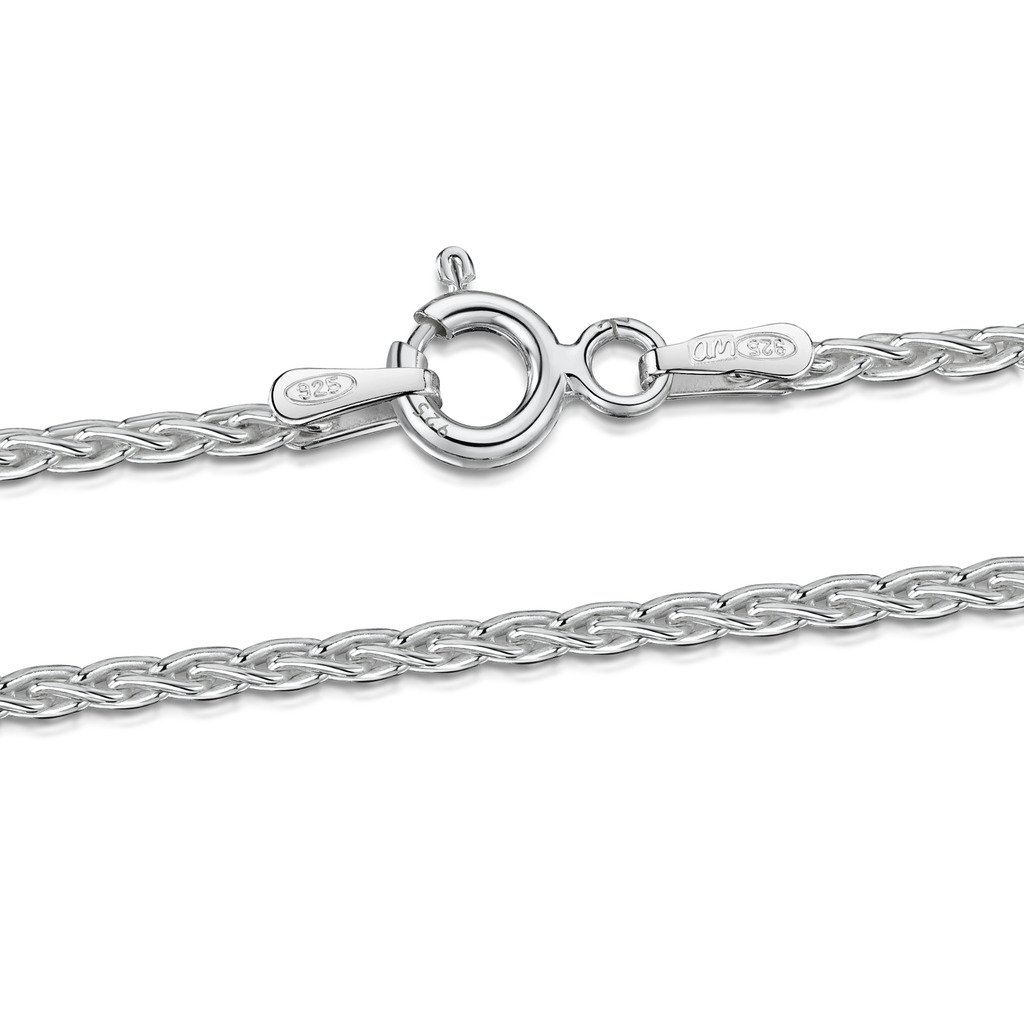 Amberta 925 Sterling Silver 2 mm Spiga Wheat Chain Bracelet Size: 7 7.5 8 inch BIA-S925-CHAIN-025-200-200