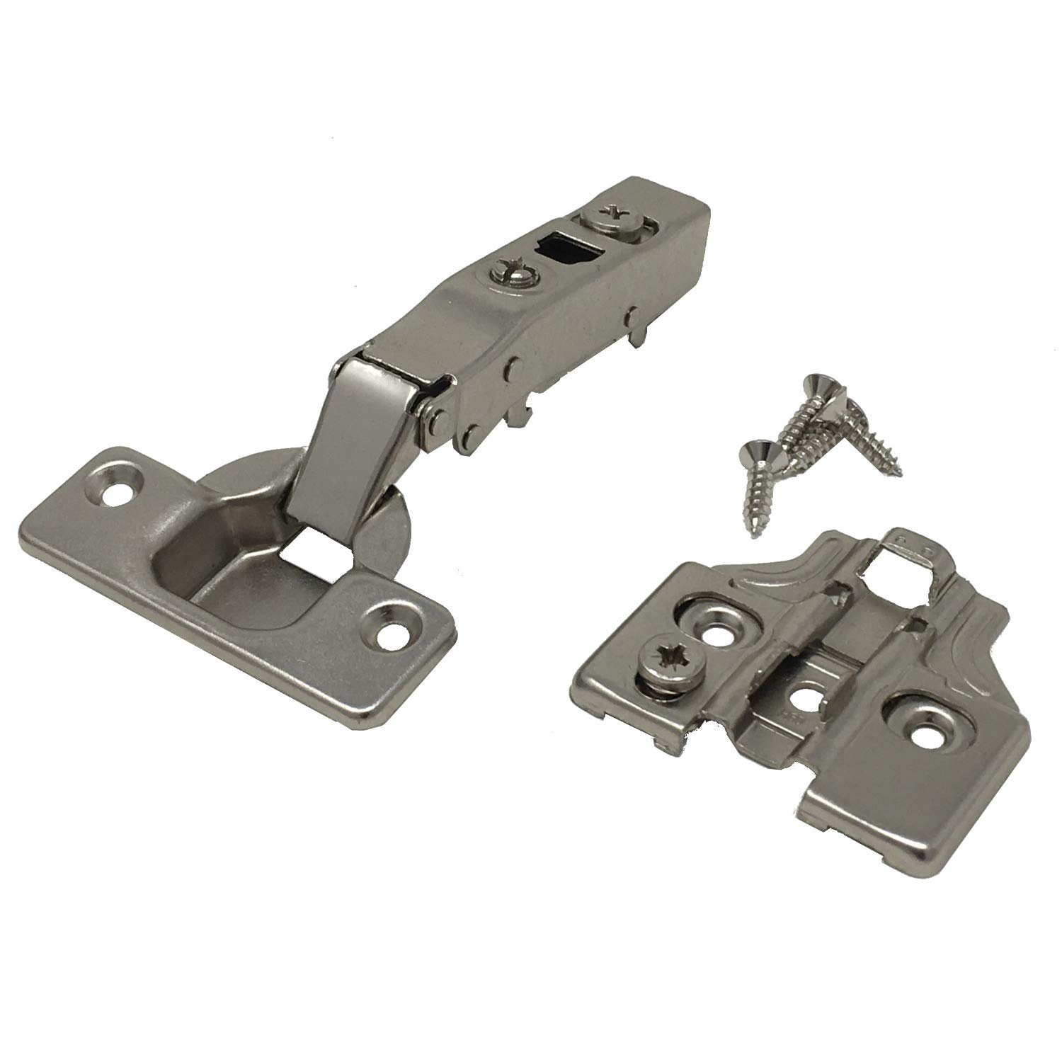 D.H.S. Euro Hinge - Soft Close - Full Overlay 105° - 3D Cam Adjustable w/Mounting Plates & Screws - 4 Pairs