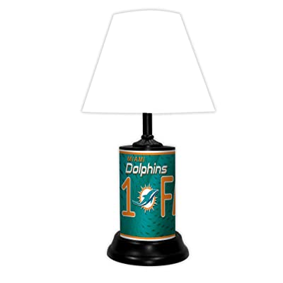 Miami Dolphins NFL Desk/Table Lamp with White Shade: Home & Kitchen