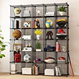 MAGINELS Wire Cube Storage Grid Shelves Unit Cabinet Panels Organizer Rack Bookcase for Toy Clothes Book Plant Black Metal Stainless 6 x 5