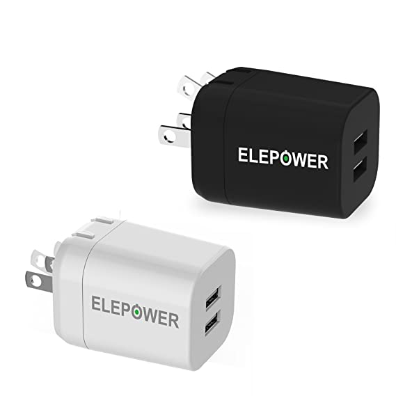 LG HTC Nokia and More-Black Samsung Galaxy Elepower 2 in 1 Car and Wall Charger Dual USB Ports 2.1A in Total Travel Wall Charger for iPhone X // 8//7 // 6S // Plus Nexus