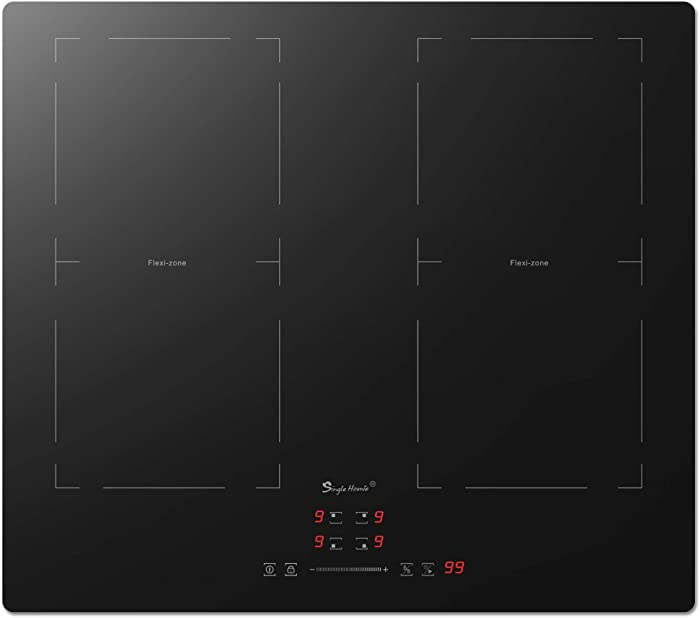 "24"" SINGLEHOMIE 4 Burner Induction Cooktop, 1500W-6000W Electric Induction Hob, Flexi Zone Induction Cooker Stove Top Stovetop,Built-in 220-240V, Child Safety Lock"