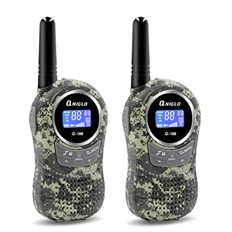 a9240045d0a Amazon.com  Qniglo Kids Walkie Talkies 2 Way Radio 3 Miles Long Range 22  Channels Walkie Talkies Kids Outdoor Camping Toys Gifts Boys Girls  (Camouflage ...