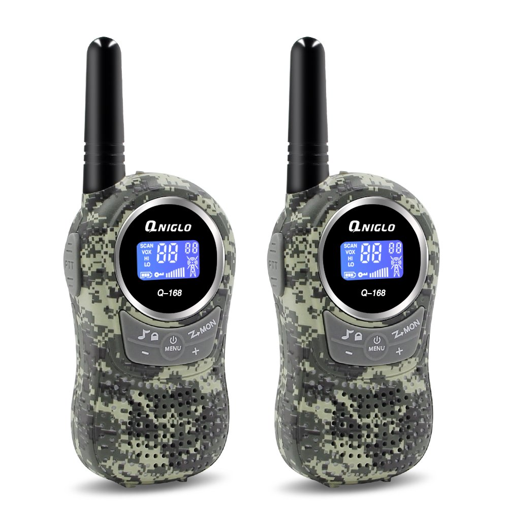 Qniglo Kids Walkie Talkies 2 Way Radio 3 Miles Long Range 22 Channels Walkie Talkies Kids Outdoor Camping Toys Gifts Boys Girls (Camouflage Green) by Qniglo (Image #1)