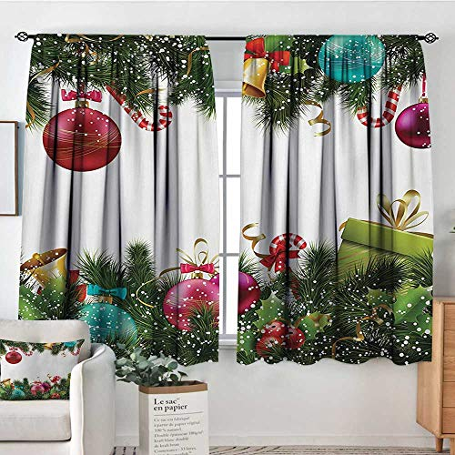 Christmas Custom Curtains Happy New Year Greeting Celebrations with Holly Garland Artful Design Thermal Blackout Curtains 55