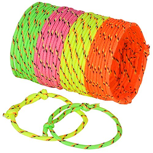 Bulk 144 Rope Friendship Bracelets, Neon Colors, For Party -School Giveaways For kids Boys And Girls