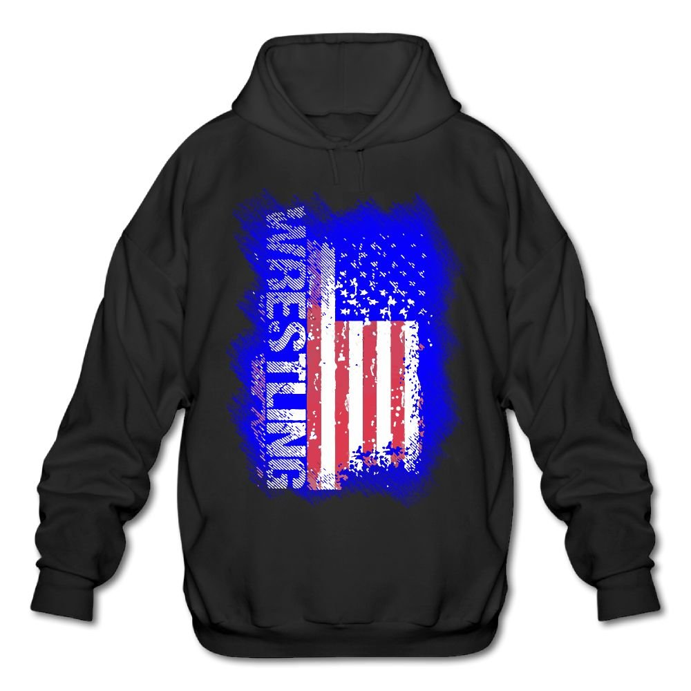 LuckyPowerMen Wrestling American Flag Men's Cotton Fashion Durable Vintage Warm Fall/Winter Hoodie Sweatshirt Coat
