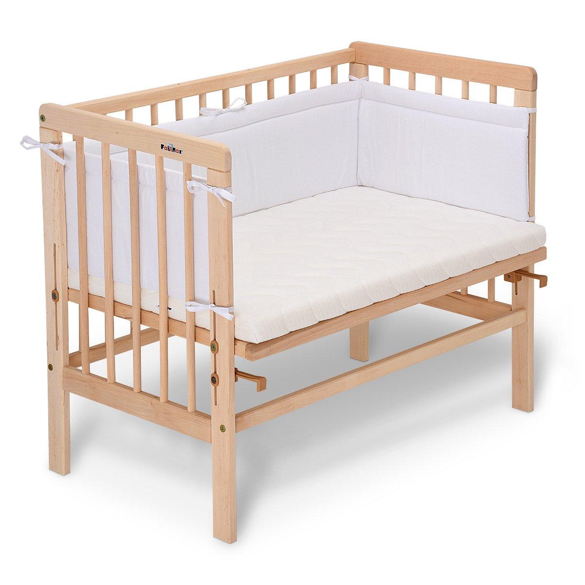 FabiMax 4166 Beistellbett BASIC natur, passend für Malm Bett, inkl. Matratze COMFORT und Nestchen Amelie weiß