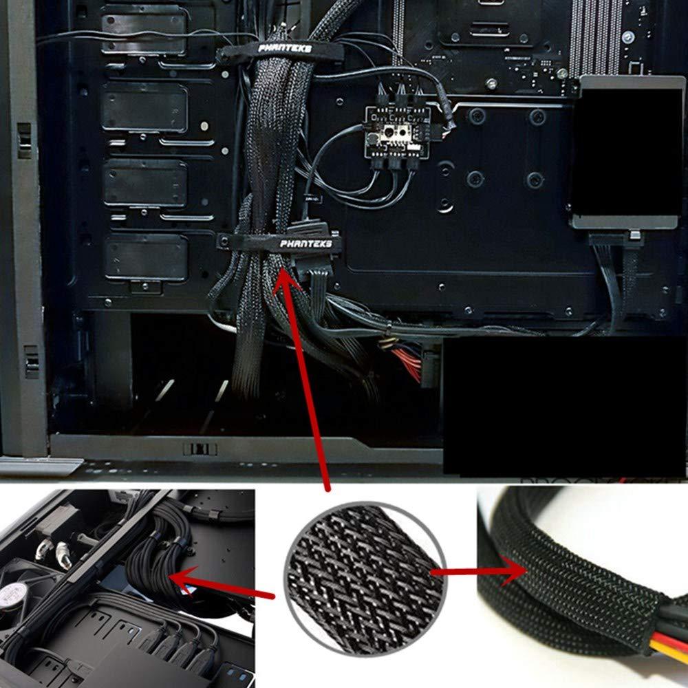 computer Guaina per cavi in tessuto 100 ft home cinema. canalina per cavi 3//4 pollici gestione del cavo regolabile flessibile Cord Organizer sistema di protezione per DES TV