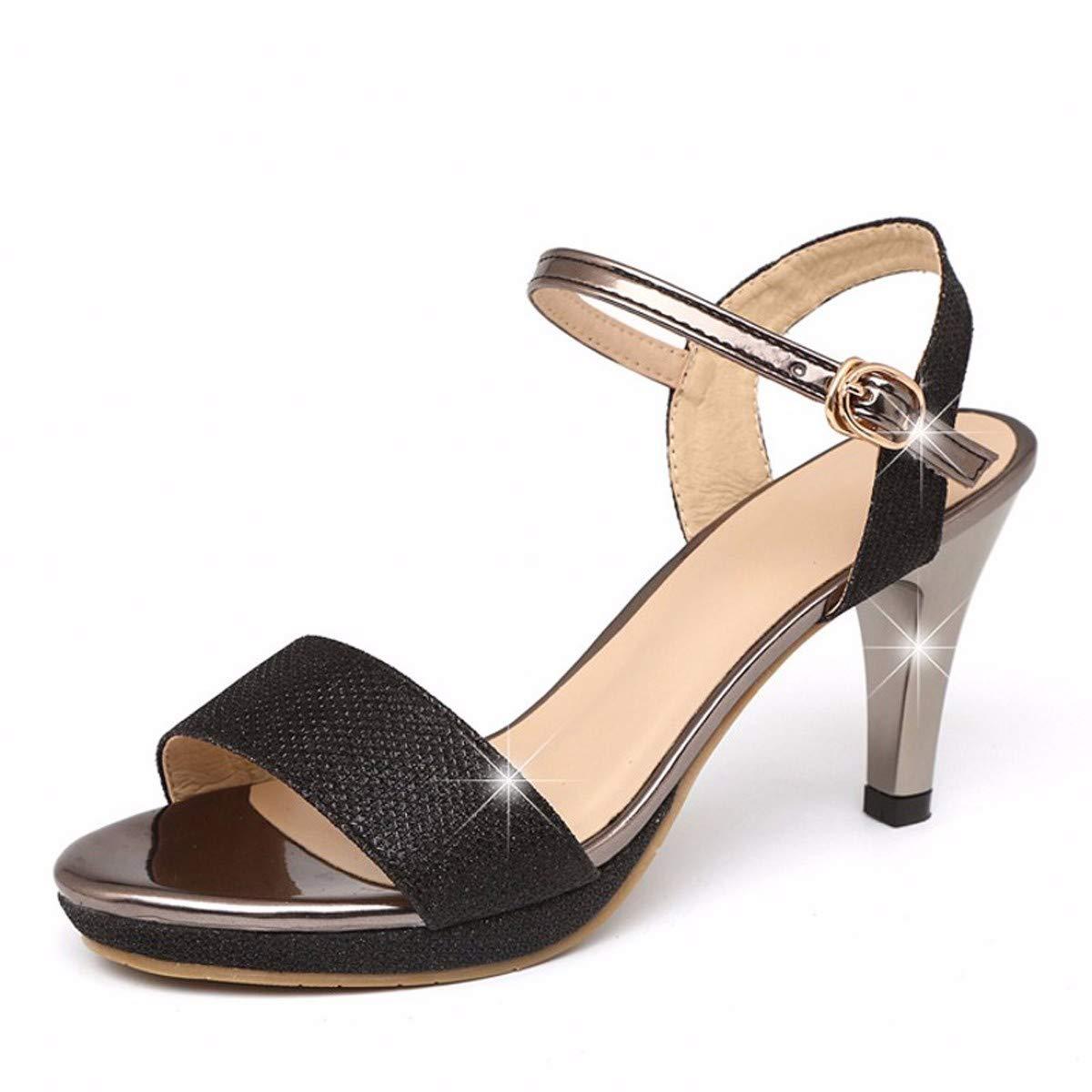 KOKQSX-Sandalen sexy schön bei fuß Damenschuhe Schnalle Leder Hochhackigen Sandalen 6 cm 38 schwarz