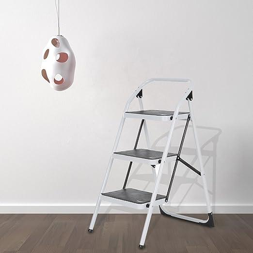 IKAYAA Escalera Plegable de 3 Pasos con la Mano Marco Iron Grip Escalera Portátil de Aluminio Antideslizante Multiuso, Escalera Aluminio Escaleras Plegables Aluminio Escalera Domestica: Amazon.es: Hogar