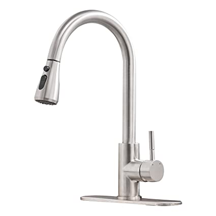 Bwe Commercial Sink Single Handle One Hole Pull Down Sprayer Kitchen