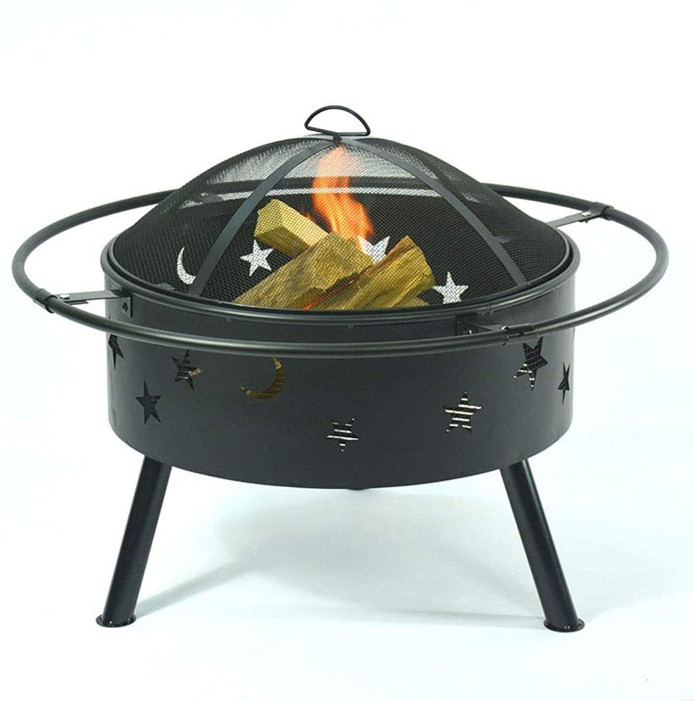 TSDS Outdoor Fire Pit, Metal Firepit Bonfire Wood Burning Heater Stove Backyard Patio Garden Firepit for Outside with Spark Screen and Fireplace Poker, Stars and Moons Design Pattern