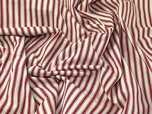 Ticking Stripe Woven Cotton Canvas Upholstery Fabric Red - per metre (Woven Ticking)