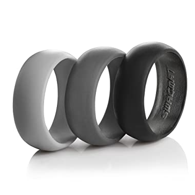 Swagmat Silicone Wedding Ring for Men – 3 Pack – Black, Dark Gray, Light Grey - 8.7mm Wide: Leading Brand for Comfort of Men´s Silicone Wedding Rings and Bands