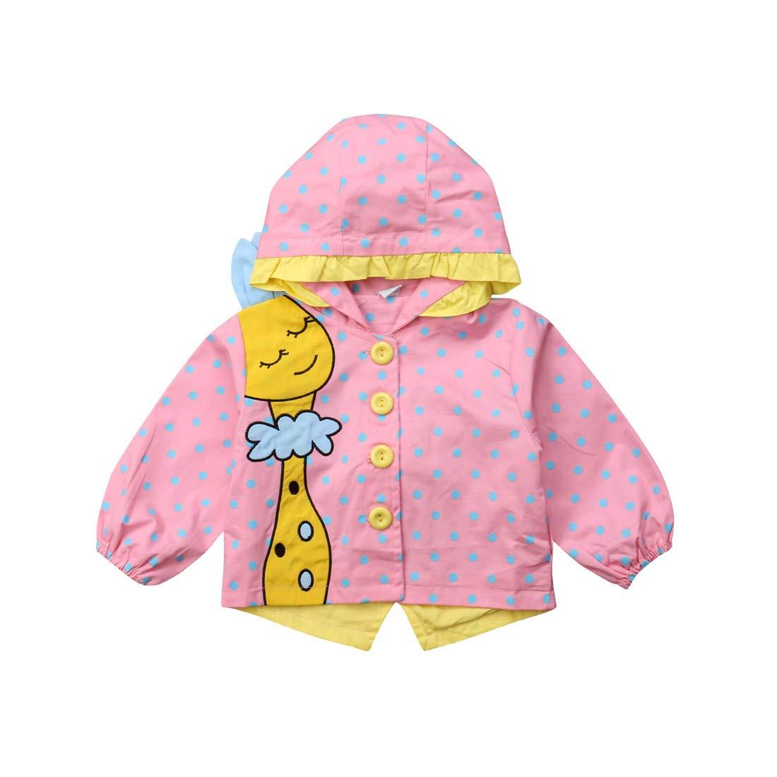 Newborn Baby Girl Giraffe Jacket Windbreaker Rain Wear Winter Autumn Warm Hooded Coat Outfit